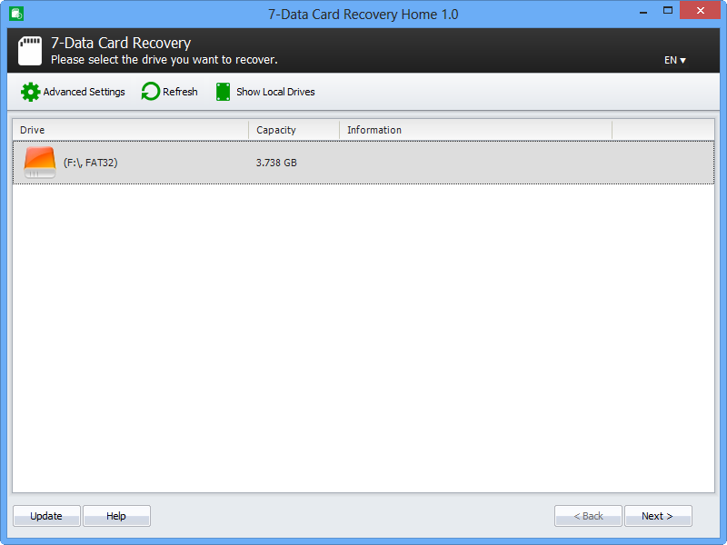 Step 1. Select the card or the drive you want to recover data from.