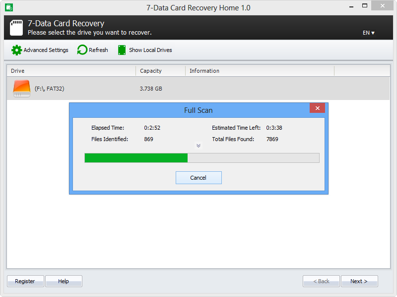 Step 2. Start scanning for recoverable files.